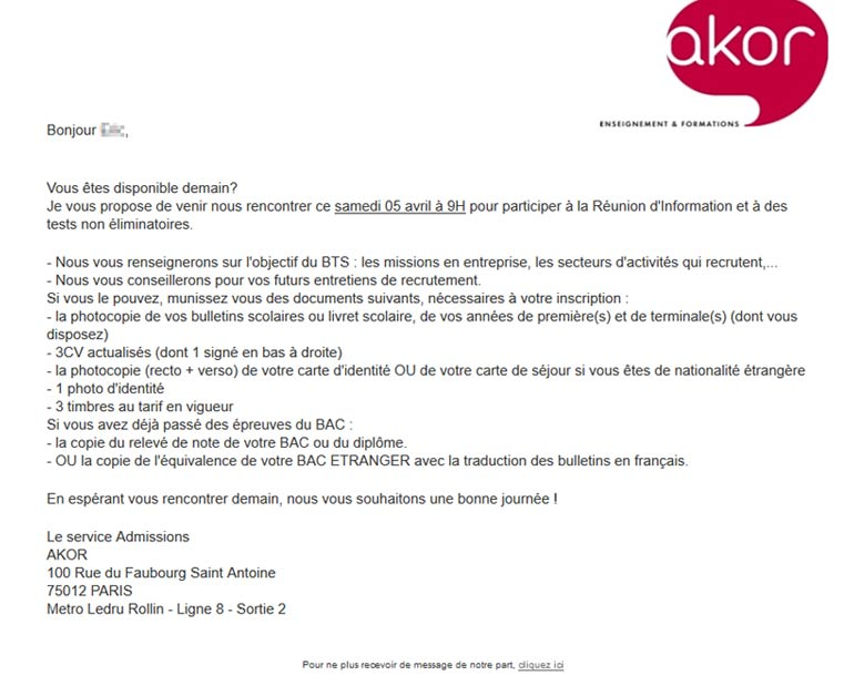 Akor Alternance routage e-mailing par Dizziweb