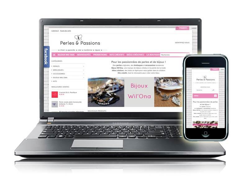 Site internet e-commerce par Dizziweb - Perles et Passions