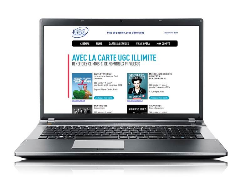 UGC, newsletters intégrés par Dizziweb